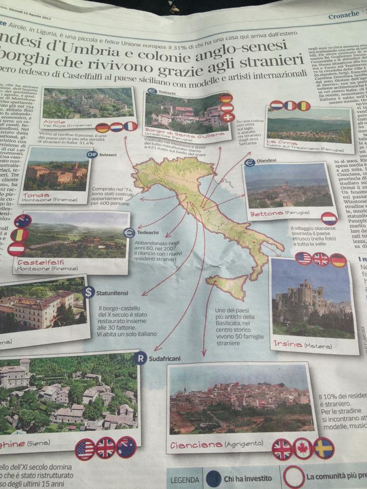 Il Corriere della Sera parla del fenomeno stranieri a Cianciana