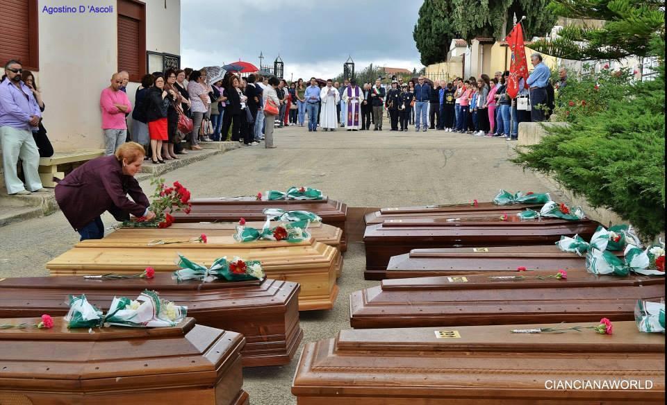 Dieci vittime del naufragio di Lampedusa sepolte a Cianciana