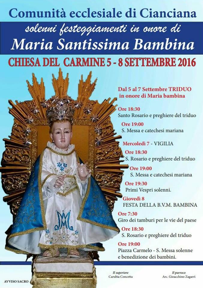 Festa Maria SS. Bambina 2016: il programma