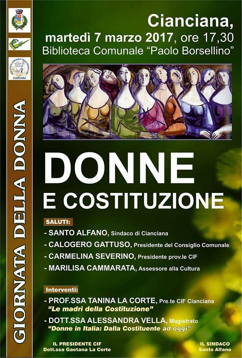 Giornata della donna: Donne e Costituzione