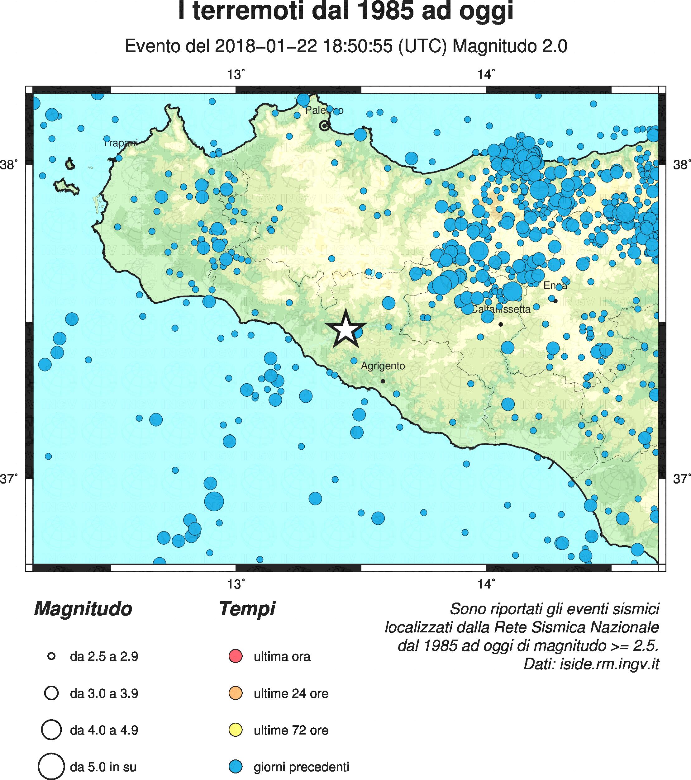 Scossa di terremoto a Cianciana