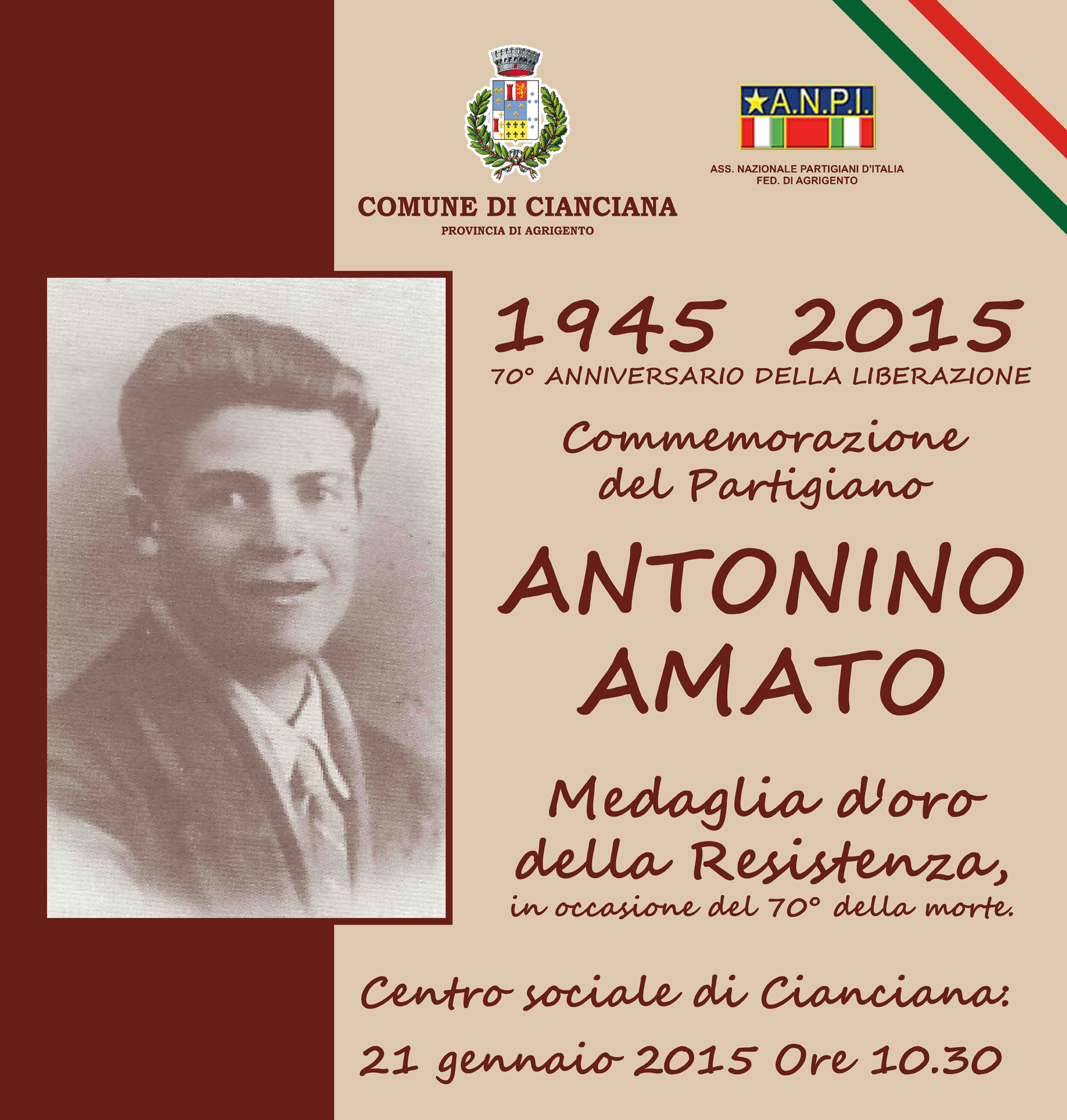 Commemorazione del Partigiano Antonino Amato, medaglia d'oro della Resistenza