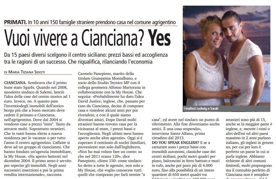 Vuoi vivere a Cianciana? Yes. In 10 anni 150 famiglie straniere prendono casa nel comune agrigentino
