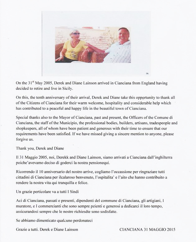 Lettera di Derek e Diane Lainson