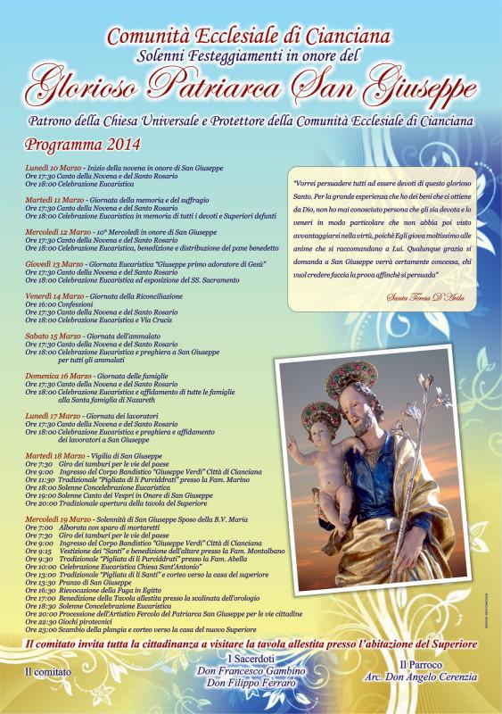 Programma Festa San Giuseppe Cianciana 2014