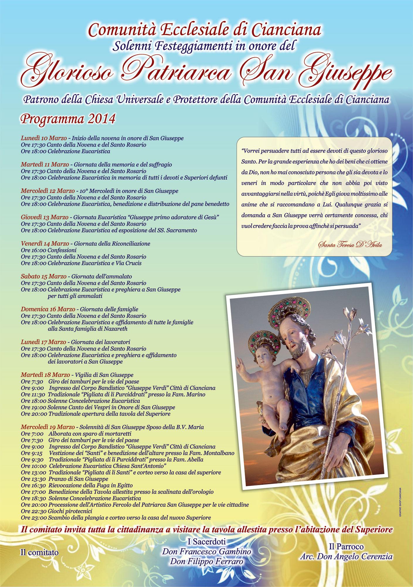 Il programma della festa di San Giuseppe 2014 a Cianciana